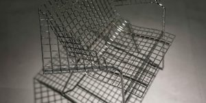 A chair fabricated from metal
